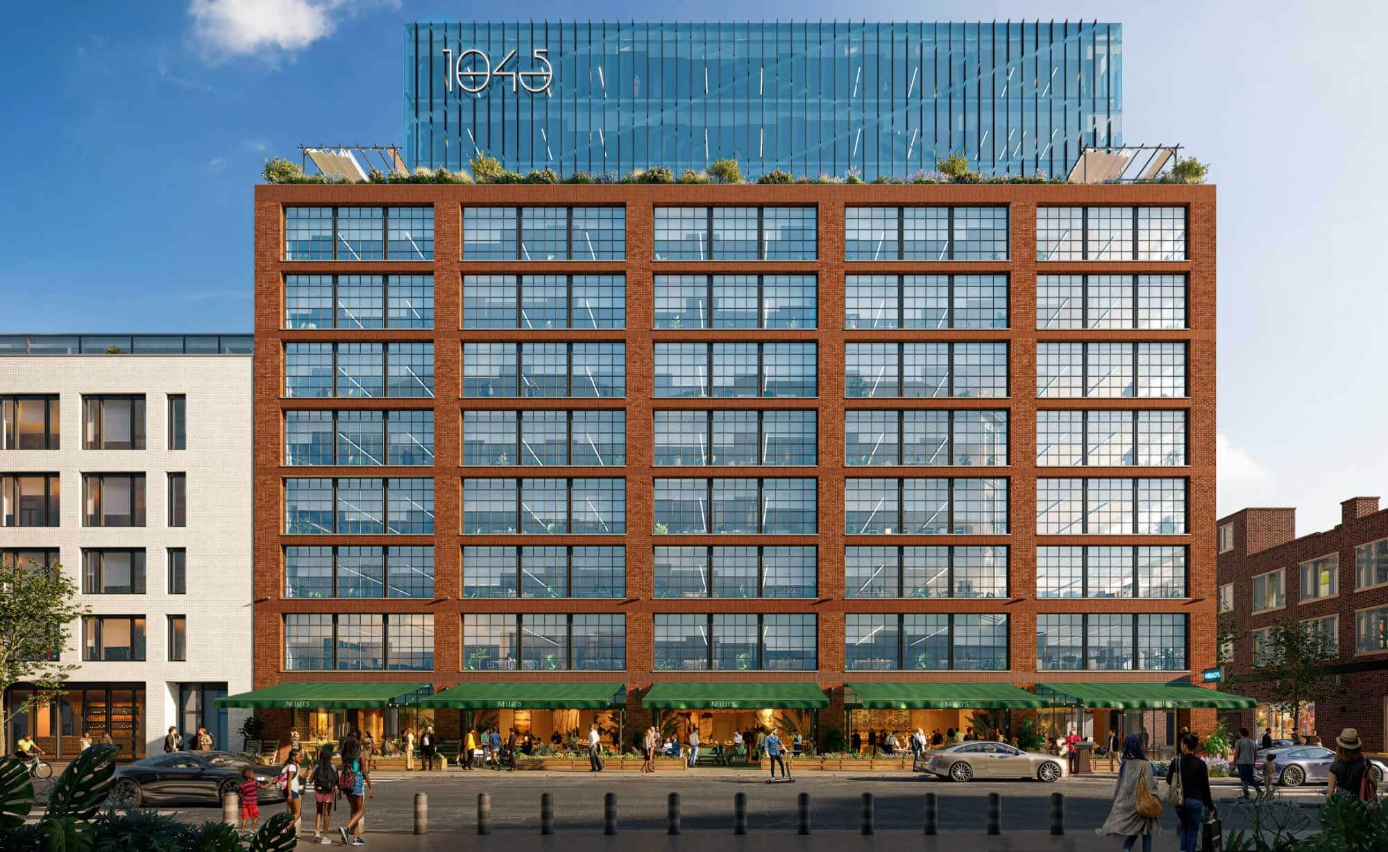 Full hero rendering of 1045 on Fulton, commercial office space in daytime