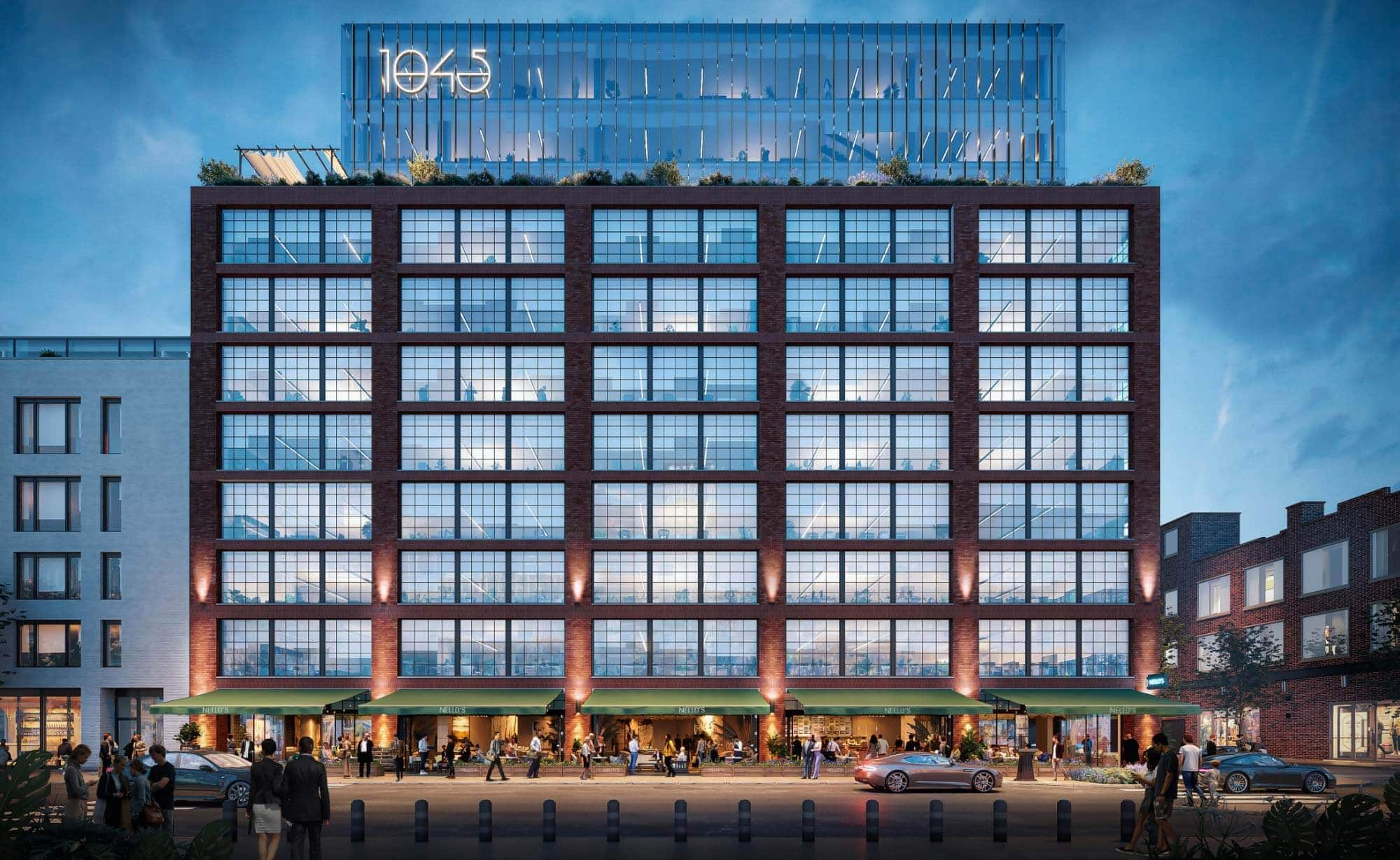 Full hero rendering of 1045 on Fulton, commercial office space at night